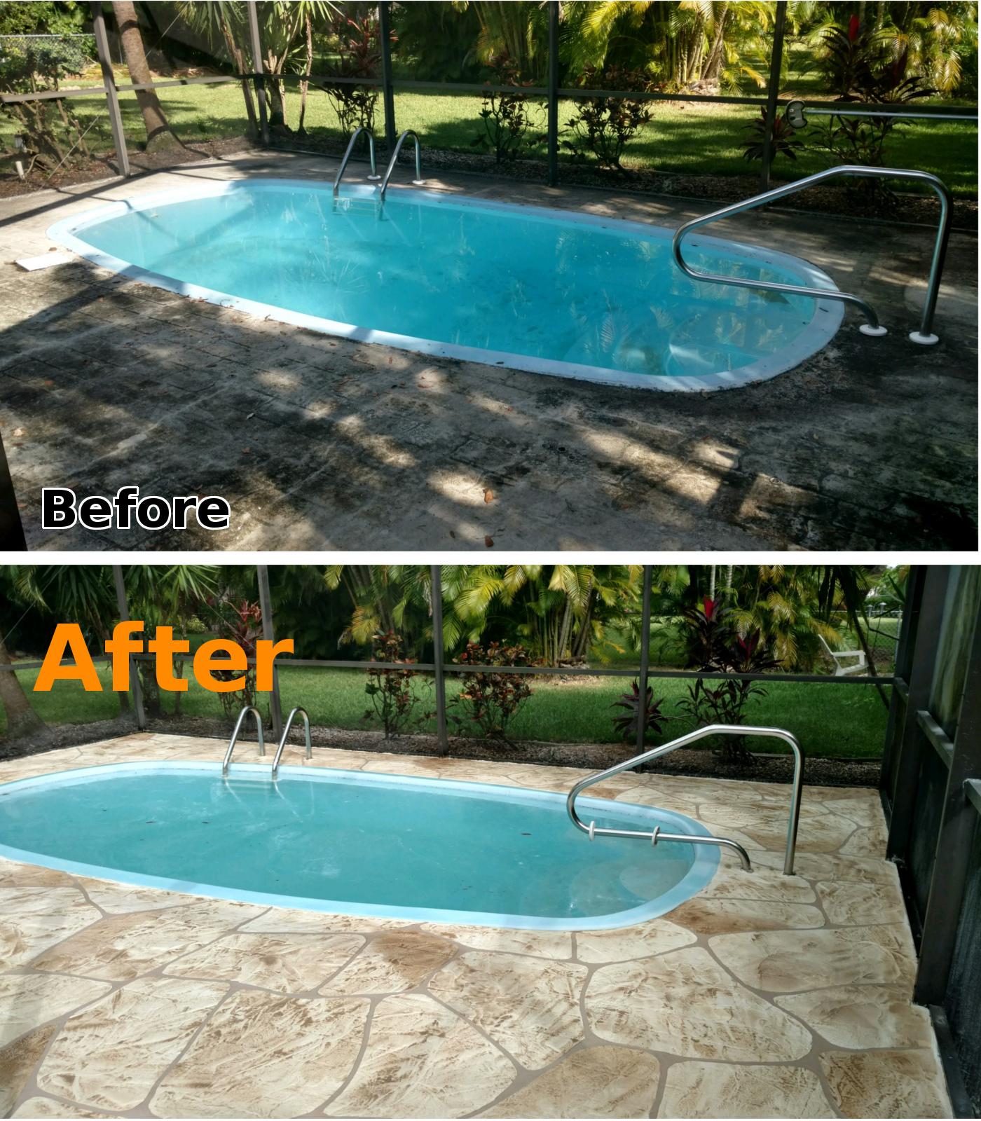 Concrete landscape curbing cape coral fl pool deck for Florida pool and deck