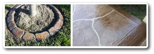 decorative concrete tree rings and driveways